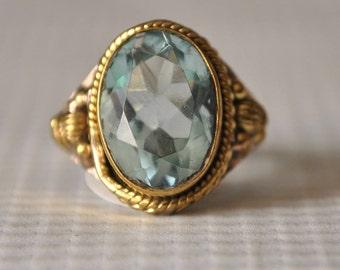 Sterling Silver Swiss Blue Topaz Ring Sz 8  #9839