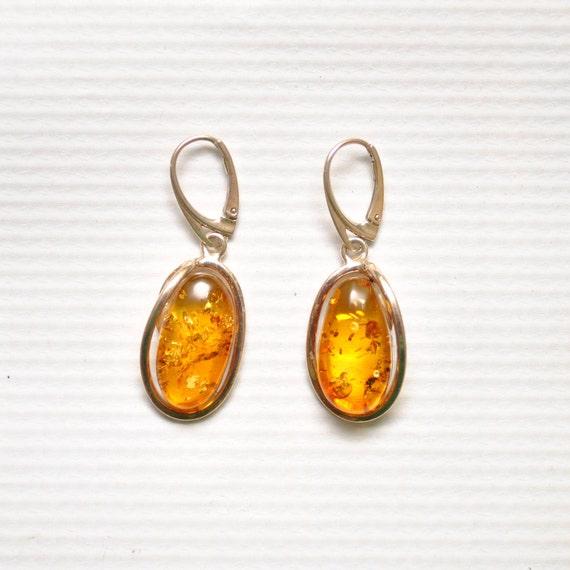 Sterling Silver Honey Amber Lever Back Earrings #9320
