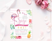 Flamingo Themed Invitation, PRINTABLE, Watercolor Pineapple Tropical Hawaiian Party Baby Invite, Digital First 1st 2nd 5th 10th Birthday