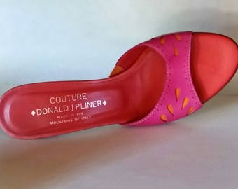 VINTAGE Donald J Pilner Couture Kitten-Heel Slides - Fuchsia+Red+Orange Leather - Eyelet Inspired Cut-Outs - Size:8M - Near Mint - SWEET!
