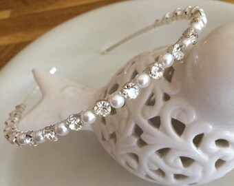 Simple Swarovski pearl & diamante wedding headband Swarovski hairband rhinestone bridal head band minimalist wedding headpiece bridal tiara