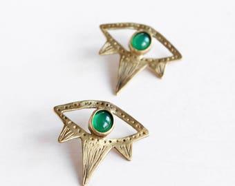 Evil eye earrings green agate earrings black onyx earrings crystal earrings tribal earrings boho earrings bohemian jewelry stones earrings