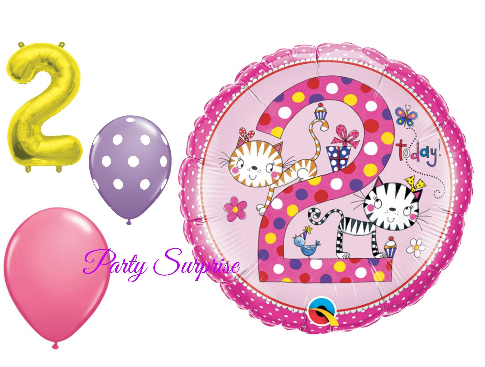 2nd Birthday Balloon Package Girl 2 Years Old Balloons Party Cats Pink Purple From PartySurprise On Etsy