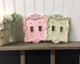 Double Light Switch Cover/Light Switch Plate Shabby Chic/Nursery/Bedroom/Decorative Cover/French Country/Light Blue/Vintage Light Switch