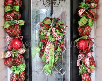 Christmas Wreath with Matching Garland, Christmas Decor, Door Garland, Door Hanger, Christmas Swag, Whimsical Christmas Wreath