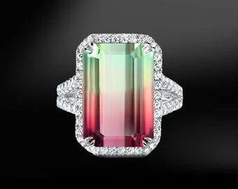 WATERMELON TOURMALINE & DIAMOND Ring