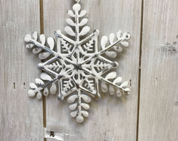 White and Silver Snowflake Metal Hanging  Home or Christmas Tree Decoration