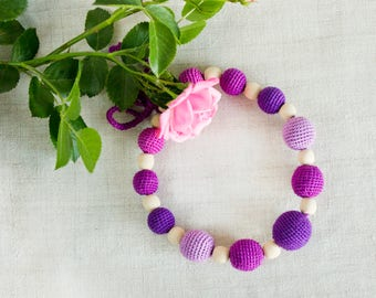 Nursing necklace, Purple Summer Teething Necklace, Jewelry, Collana allattamento, Babywearing Style, Baby Shower, Gift for wife, for new mom