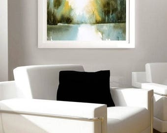 Peaceful Art Watercolor Print, Watercolor Art Landscape Painting,Watercolor Painting,Contemporary Print,Green Wall Art,Fine Art Giclee Print
