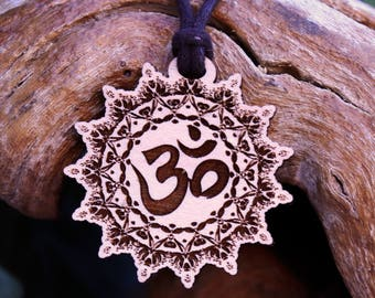Om Mandala Pendant Necklace - Laser Cut Homeade Engraved Women's Jewelry Gifts