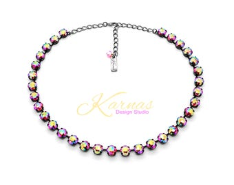 RISQUÉ 8mm Classical Cut Necklace Made With Swarovski Crystal *Choose Your Finish *Karnas Design Studio™ *Free Shipping*