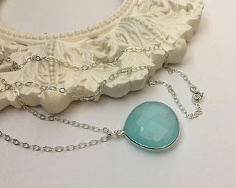 Aqua Blue Chalcedony Necklace