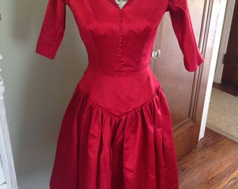 Vintage Red Silk Dresss...1950's.....Drop waist with front buttons.....Flared skirt