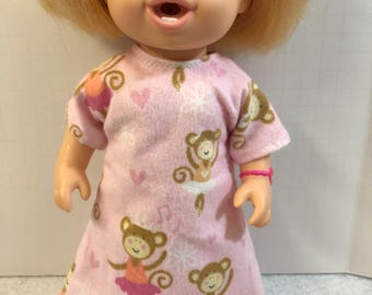 "BABY ALIVE 12 inch Doll Clothes, Pink Flannel ""Dancing BALLERINA MONKEYs"" & Hearts Nightgown, 12 inch Baby Alive Doll, Ready For Bed!"