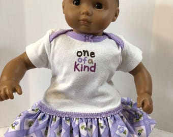 "15 inch Bitty Baby Clothes, Adorable Purple w/Flowers ""ONE-of-a-KIND"" Ruffle & Trim Dress, 15 inch AG Bitty Baby Doll and Twin Dolls"