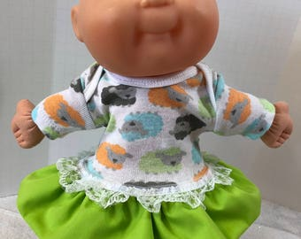 "Cabbage Patch NEWBORN 12 inch Doll Clothes, Adorable Little ""BABY LAMBS"" Ruffle and Lace Trim Dress, 12 inch Newborn Cabbage Patch Clothes"