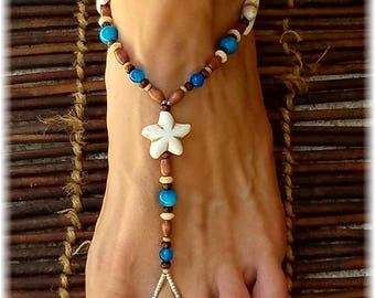 Tropical Foot Jewelry • Barefoot Sandals • Barefoot Jewelry • Footless Sandal • Beach Sandals • Boho Jewelry • Tribal Jewelry