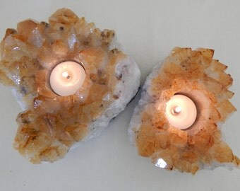 Raw Citrine Candleholder Pair