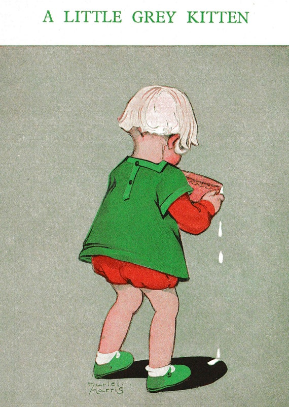 1930s print of illustration by Muriel Harris, little girl with bowl of milk for kitten, matted for framing, 8 x 10 inches