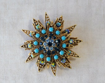 Vintage Star Brooch,  12 Point Blue Star, Turquoise, Teal, AB Blue, Sapphire, Gold Tone, KC1420