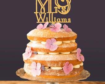 Mr and Mrs Wedding Cake Topper Art Deco inspired Personalised surname