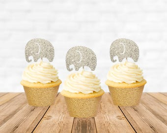 Elephant Cupcake Toppers, Elephant Cake Topper, Jungle Elephant Baby Shower Decorations, Circus Carnival Theme Party, Circus Birthday Cake