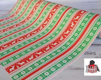 Red and green Nordic reindeer sweater wrapping paper sheets Christmas gift wrap GW3611