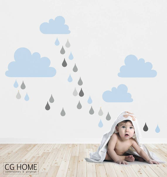 Pastel Cloud Wall Decals Nursery Crib Stickers CLOUDS Pattern For Kids Decoration Powder Blue Rain Raindrop