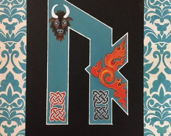 "Two Runes Calligraphy Scandinavian Folk art painting 6""x8"""