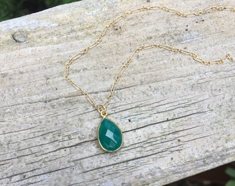 Green Onyx Pear-Shaped Bezel-Set Gold Vermeil Pendant Necklace on a 14K Gold Filled Dots and Dashes Chain - 16 inches
