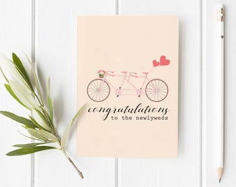 Congratulations to the Newlyweds Folded Card | Funny, Wedding, Cute, Bike, Bicycle Holiday Greeting Stationery, pink, family