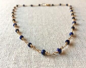 Lapis gemstone gold choker necklace