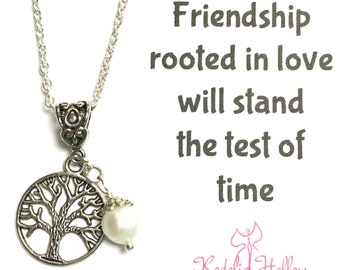 Friendship gift, Silver Tree of Life Necklace, Pearl Necklace, Gift for her, Tree of Life Pendent