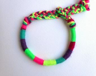 Neon friendship bracelet, Color block, Fluo bracelet, Yarn bracelet, Stackable bracelet, Neon yellow, Neon green, Hot pink, Hippie jewelry