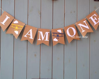 I am one birthday bunting banner airplane decor, backdrop, props