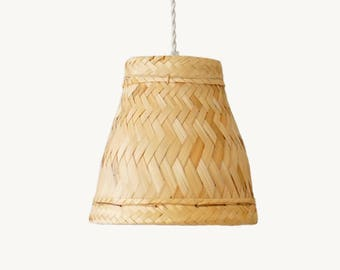 Bamboo pendant lamp, Woven Bamboo pendant light, Hanging Lamp, Rice Lamp