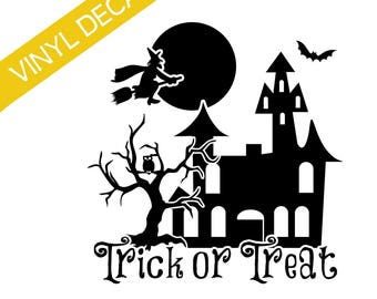 Halloween Trick or Treat Vinyl Decal w/house, tree, moon Crafts Relief Society Halloween Activity Groups