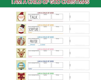 Primary Sharing Time Assignment Wristbands I am a child of God CHRISTMAS Reminder bands prayer scripture talk