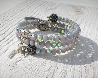 Boho chic bracelet * gray and silver * Bracelet shape memory