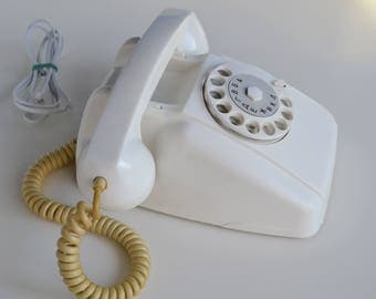 Rotary Telephone, Vintage Office Decor, White Vintage Home Decor, Fully Working Refurbished Telephone, 60s Electronics, Soviet Gift for Him
