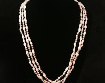 Vintage pearl necklace freshwater pearls triple strand choker necklace