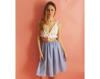 80s Gingham Peasant Skirt  XS S M