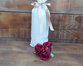 Wine Bags - Cotton Wine Bags - Wine Bottle Cosy - Cotton Wine Bottle Holder - Wedding Wine Bags - Set of 6 - Choose color of ribbon
