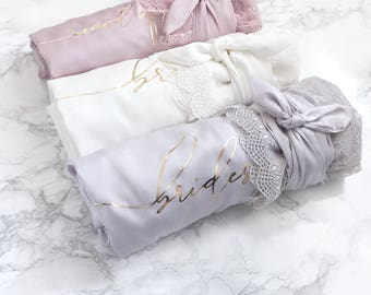 Satin and Lace Bridal Robes - Maid of Honor Custom Gift White Blush Light Gray Rich Mauve Satin Bridal Party Robe Bridesmaid Robes Lace
