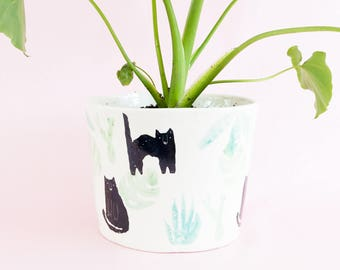 Miso Cats and houseplant big planter - black cats with plant succulent cacti pattern ceramic pot for indoor or outdoor house plants
