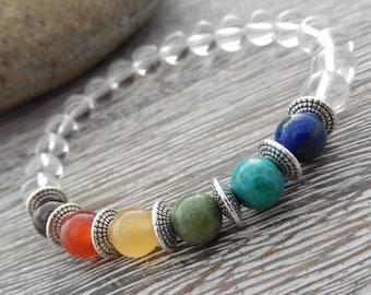 7 Chakra Bracelet, Wrist Mala, Gemstone Mala, Meditation Bracelet, Yoga Bracelet, Crystal Healing, Balancing Bracelet, Reiki infused