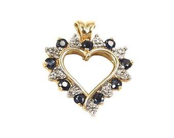 Heart Shape White, Blue Diamond, Sapphire Pendant in 14kt Yellow Gold