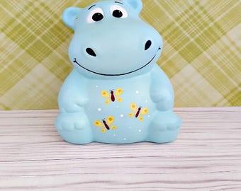 Butterfly Hippo Piggy Bank, Hippo Piggy Bank, Hippopotamus Piggy Bank, Piggy Bank, Bank, Baby Bank, Baby Gift, Blue Piggy Bank, Butterfly
