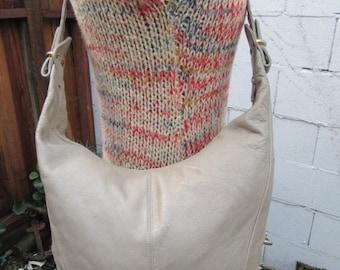 On Sale 1980s Taupe Leather Hobo Bag Purse Tote Handbag Black Leather Vintage Sling Slouch Pebbled Large Taupe
