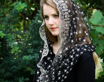 Evintage Veils~ Holy Cross Gold Embroidered  Traditional Black Vintage Inspired Infinity Shape Mantilla Chapel Veil